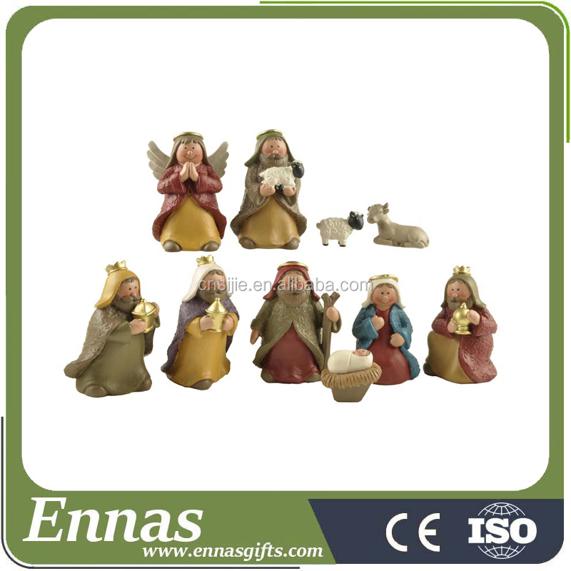 Painted Polyresin Religious Statues Miniature Figurines Resin Christmas Nativity Scene Set