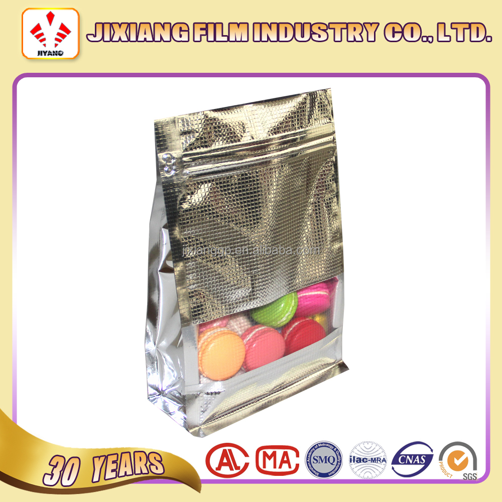 Ambossing Flat Bottom plastic Aluminum Foil Zip Lock Bag With Window For Nut And Snack
