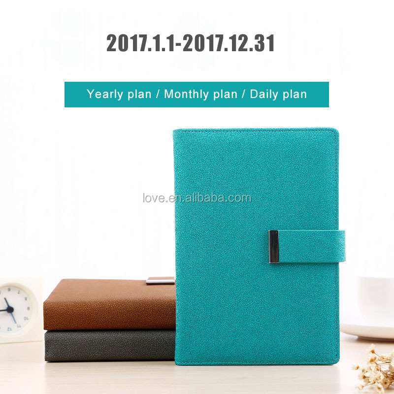 A5 matt discolorment PU cover planner with clasp button embossed/debossed logo organizer person diary
