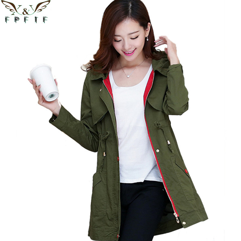 Free shipping 2015 fall and winter Cotton trench coat abrigos y chaquetas Zipper Hooded Army green/ khaki Fashion Leisure casaco