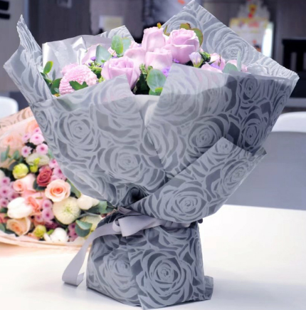 Rose color non woven flower wrapping paper