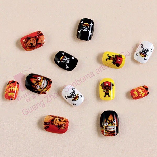 Senboma One Piece Kids Fake Nails Fun Nail Designs For Kids Cute ...