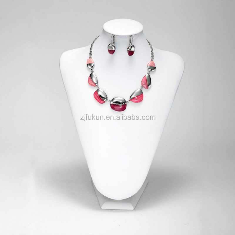 Shell resin multi stone pink necklace earrings set silver plated statement jewelry set