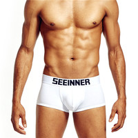 Free Sample Underwear Men white and black boxer shorts OEM Brand On Waist
