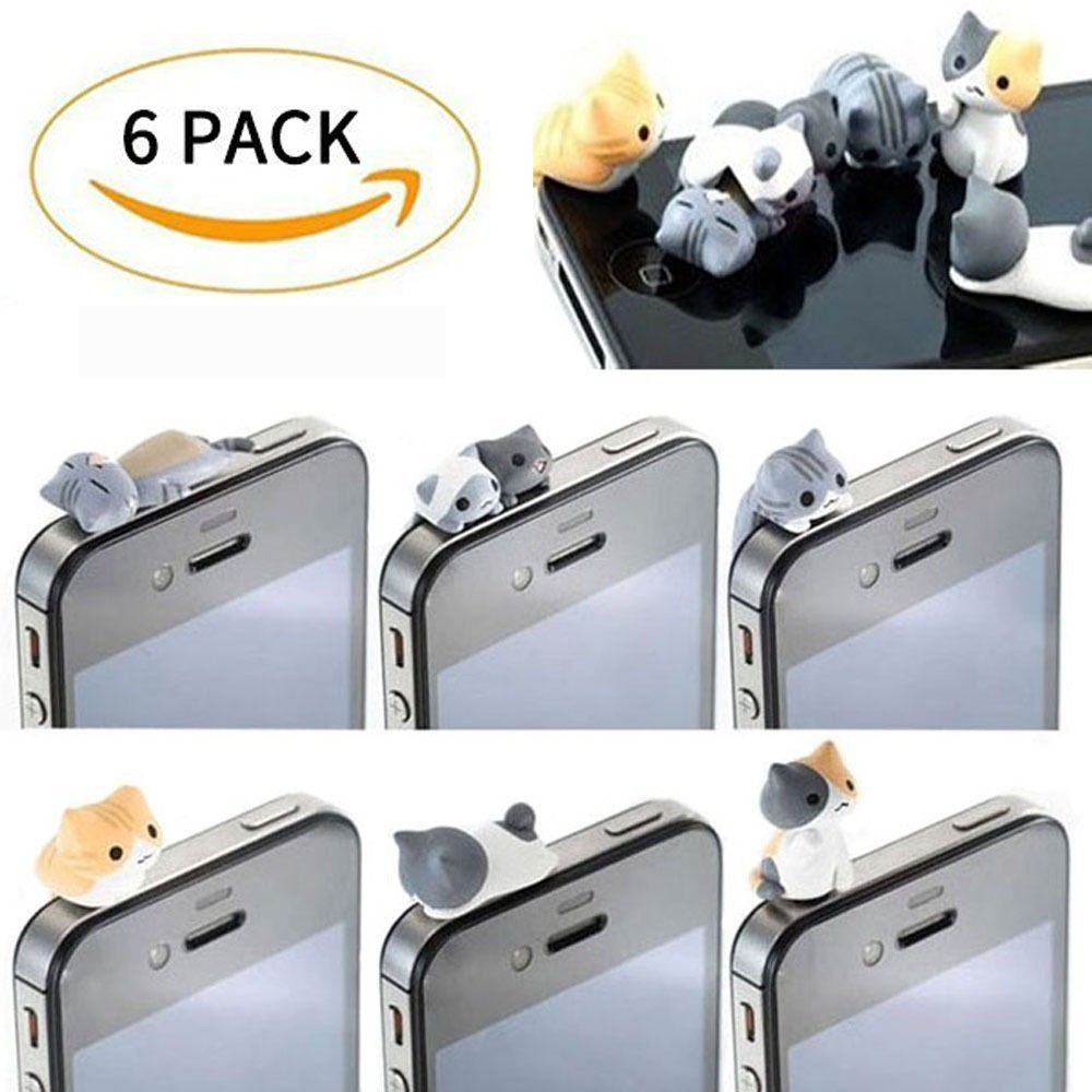 New Wayzon 6pcs Cute Cheese Cat 3.5mm Anti Dust Earphone Jack Audio Interfact Plug Stopper Cap for iPhone Samsung More Phones and Tablets HTC