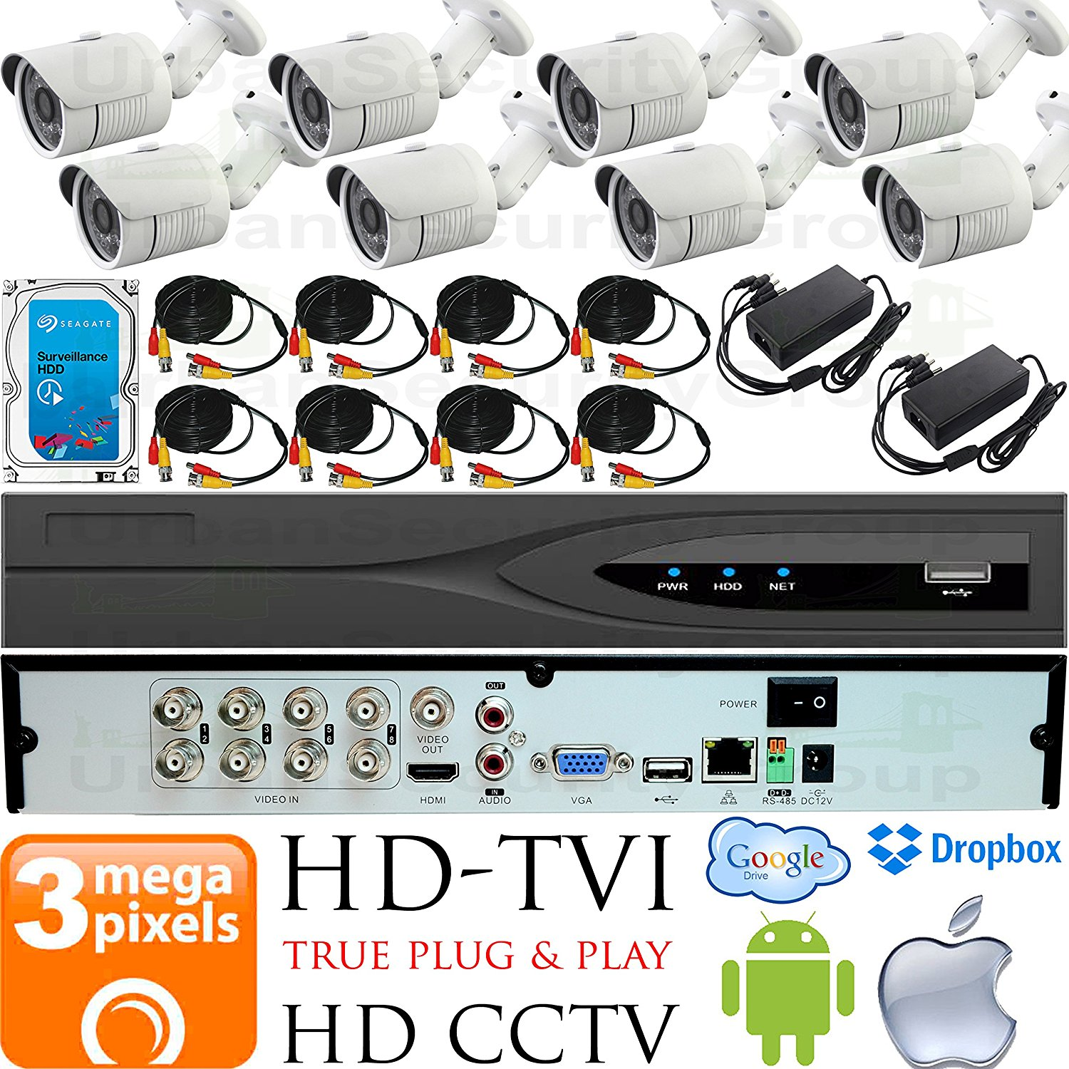 USG Business Grade 3MP HD-TVI 8 Camera CCTV Kit : 8x 3MP 2.8mm Wide Angle Bullet Cameras + 1x 8 Channel 3MP DVR + 1x 4TB HDD + 8x 100ft CCTV Cable + 2x 4 Channel Power Supply : Apple Android Phone App