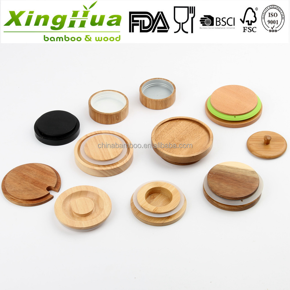 verre pot avec bambou bois couvercle bocaux avec des couvercles en bois couvercle en bois pour. Black Bedroom Furniture Sets. Home Design Ideas