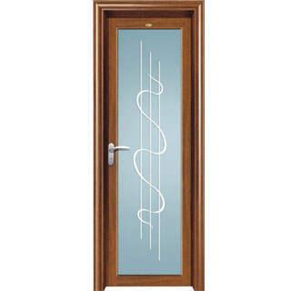 modern wood grain aluminum glass single or double swing door side hung door