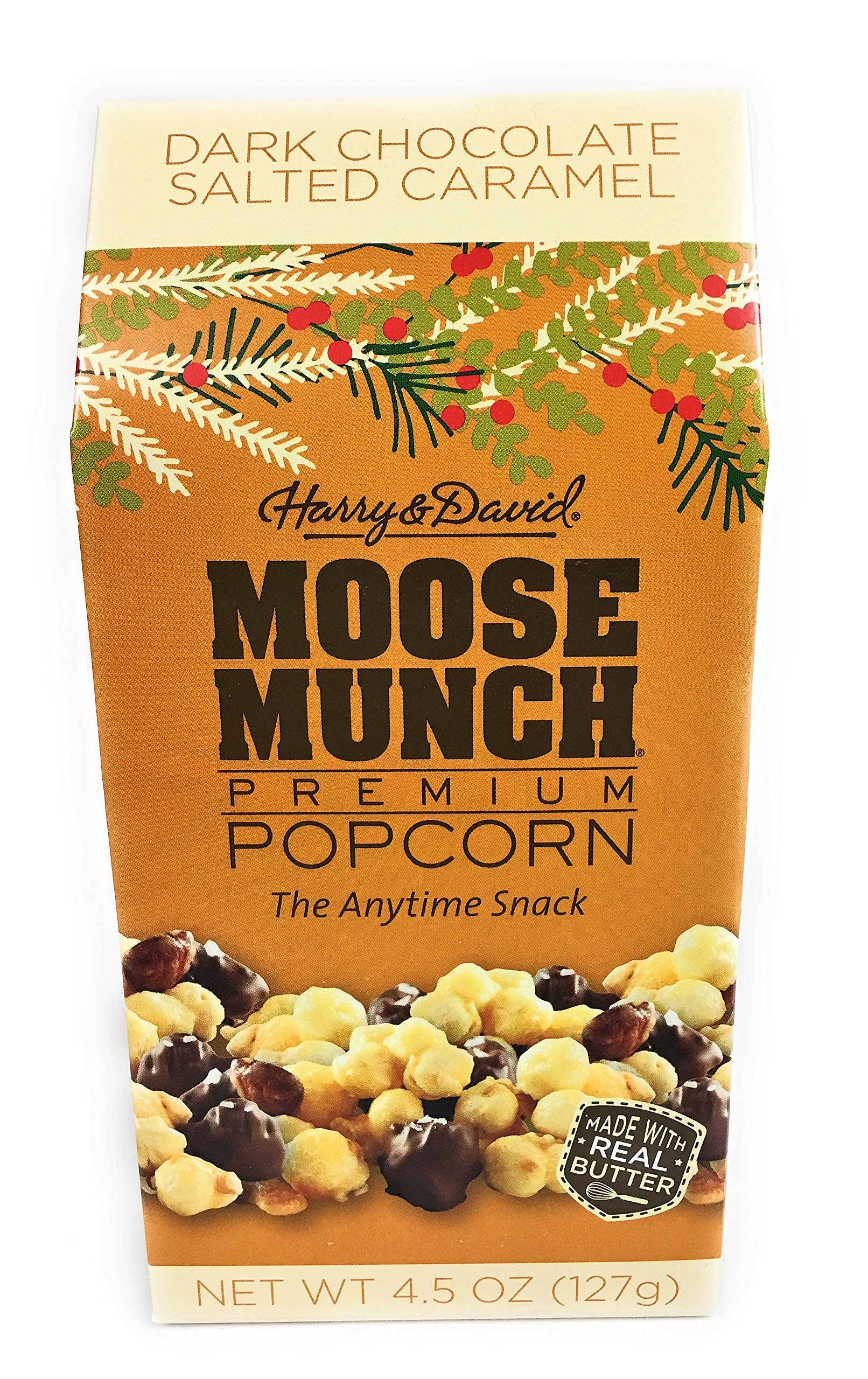 Harry and David Moose Munch Dark Chocolate Salted Caramel 4.5 oz Premium Popcorn