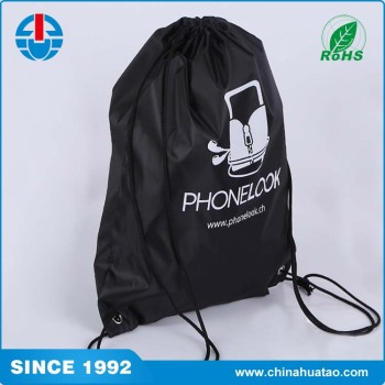 Fugang Cheap Wholesale Custom Black Gym Sack Drawstring Bags No ...
