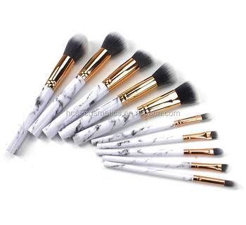 Benutzerdefinierte 10 stücke marmor make-up pinsel, pro art hochwertige kosmetische make-up pinsel set OEM pinsel Private label