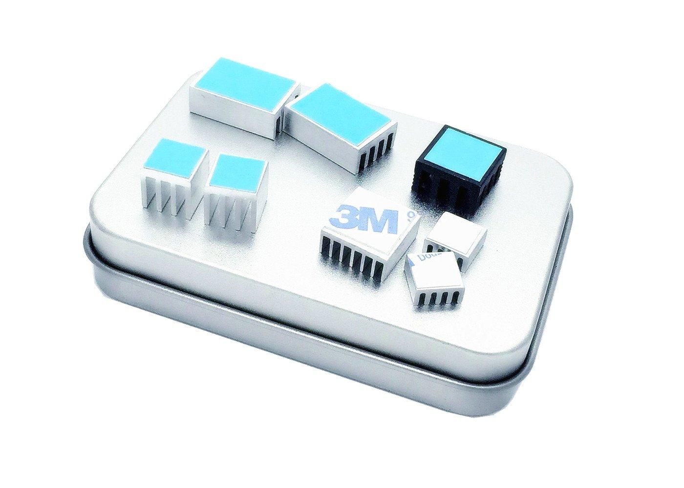 OdiySurveil(TM) Aluminum Heatsink Cooler Circuit board Cooling Fin for Raspberry Pi,VGA RAM,IC Chips,MOSFET SCR(Pack of 5 DIY Heatsinks+3 Free)