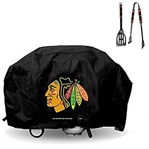 Official National Hockey League Fan Shop Authentic NHL Large Grill Cover and BBQ Utensil Set. Broadcast Your Favorite Team Grilling or Covering the Grill. NHL Grill Cover and BBQ Set Makes a Great Gift