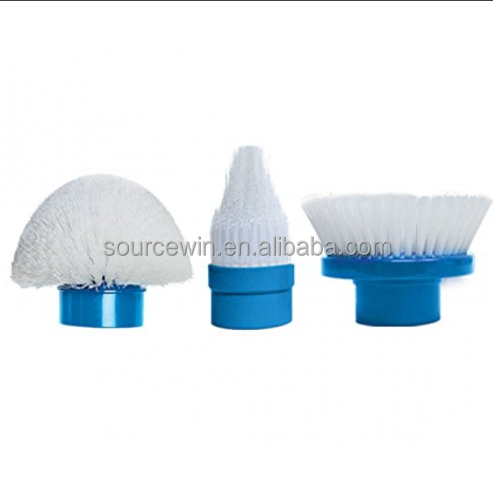 As Seen On TV Multi-Purpose Surface Scrubtastic Telescopic Spin Scrubber Cleaning Brush with 3 Scrubbing Heads- White