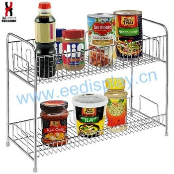 Stainless Steel 2 Tier Spice Jars / Condiment Bottles / Canned Food Shelves  Pantry Storage Rack