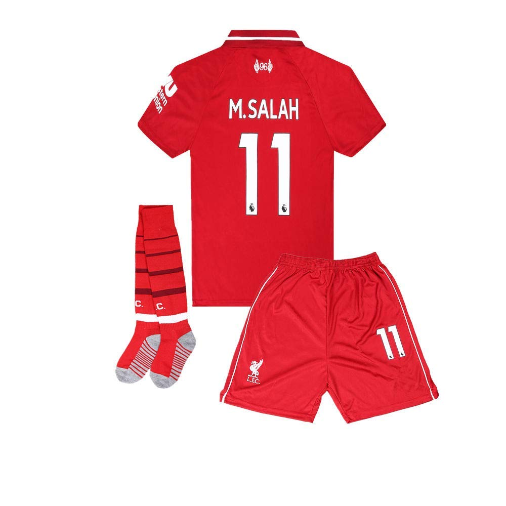 a007a2497 Get Quotations · 11 M Salah Liverpool Home Soccer Jersey   Shorts   Socks  Youth Kids 2018-