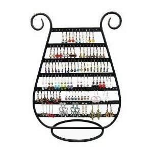 Earring Holder Jewelry Organizer Necklace Hanger Wall Stand Rack Black Classic Display