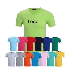 Custom Logo Printing Women T Shirt V Neck T-Shirt Lady Tees 100% cotton Summer Tshirt printing
