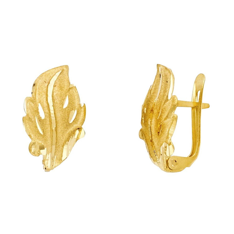 14k Yellow Gold Leaf Huggie Earrings Clip On Closure U Shape Diamond Cut Polished Genuine Size Options