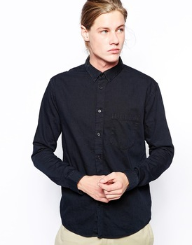 Pocket Denim Black Shirt/cotton Fabric Mens Casual Shirts/men Long ...