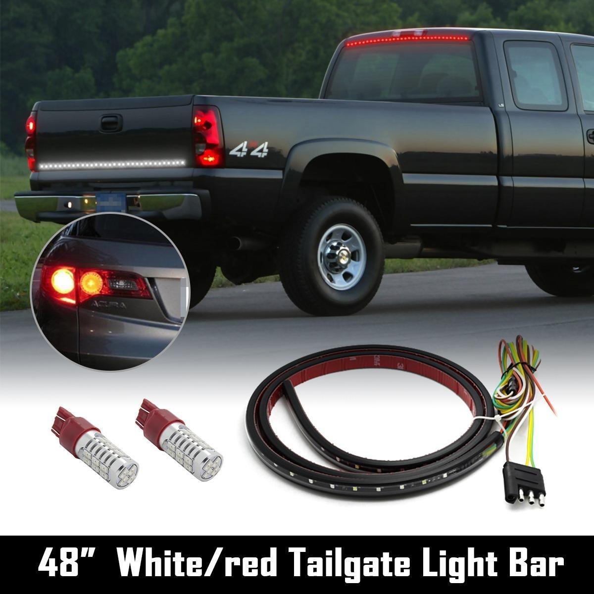 """Partsam Universal Red/White LED Tailgate Light Bar 48"""" Tail Brake Backup+2x7443 Red LEDs"""