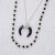 Fashion statement silver horn pendant necklace multi layers beads chain necklace