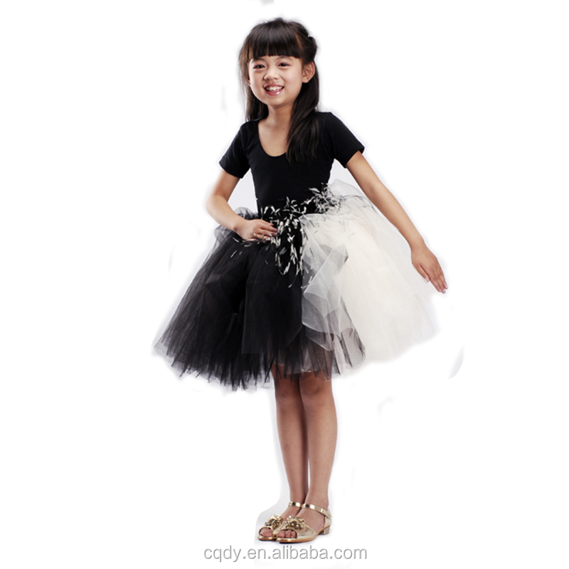 Wholesale Fancy Feather Flower Girl Tutu Wedding Dress Baby Kids Birthday Party Clothes Childs Chic Graduation Dresses For Photo