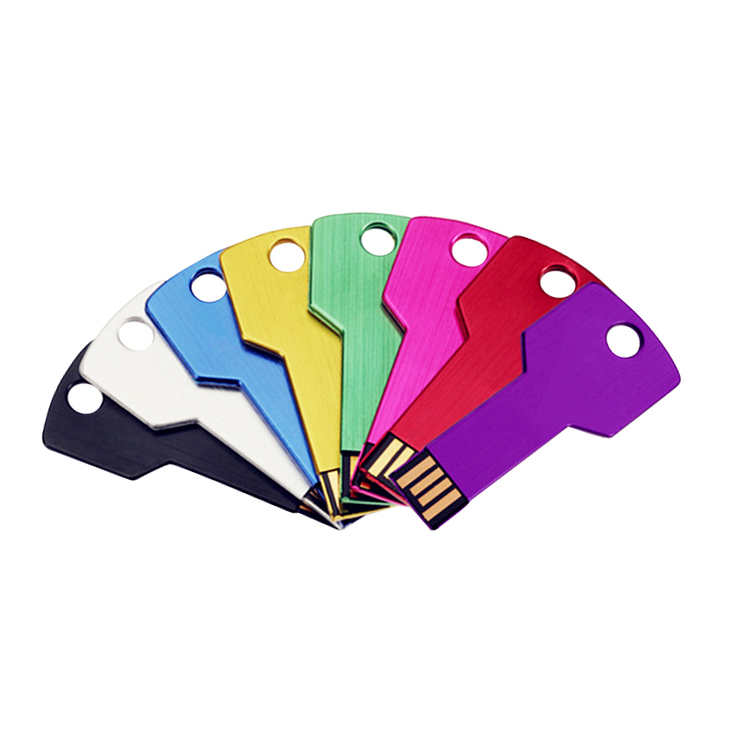 logo printing colorful memory metal key shape usb flash drives 2gb
