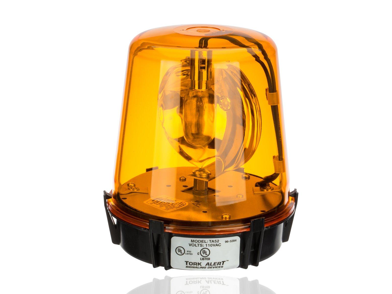 Compact Rotating Beacon, Warning Light, 117VAC, Amber