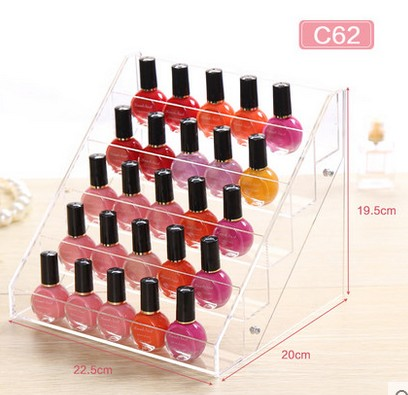 5 tiers clear acrylic nail polish stand <strong>showing</strong> 30 bottles