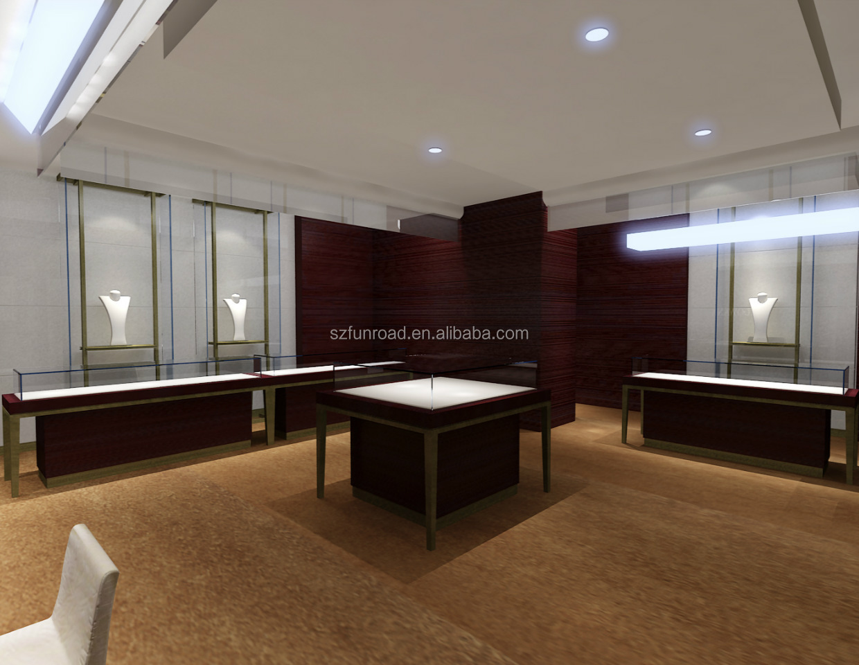 2018 Chinese manufacturer jewelry store display jewelry shop showcase design