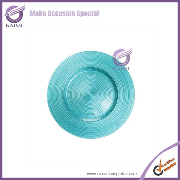 18265 new design round rattan charger wholesale clear glass decorative christmas plates