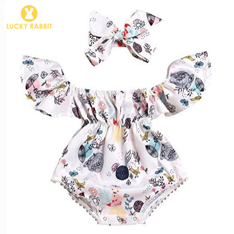 Short Sleeve Romper Baby Clothes Ruffle Romper Floral Cute Baby Romper Toddler Clothing Off Shoulder Sunsuit фото
