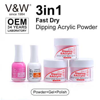 VW Oem Private Label Fast Dry Acrylic Powder Dipping Nails Set French Tip Dip Nail Dip Liquid 3 In 1 Match Gel And Nail Polish