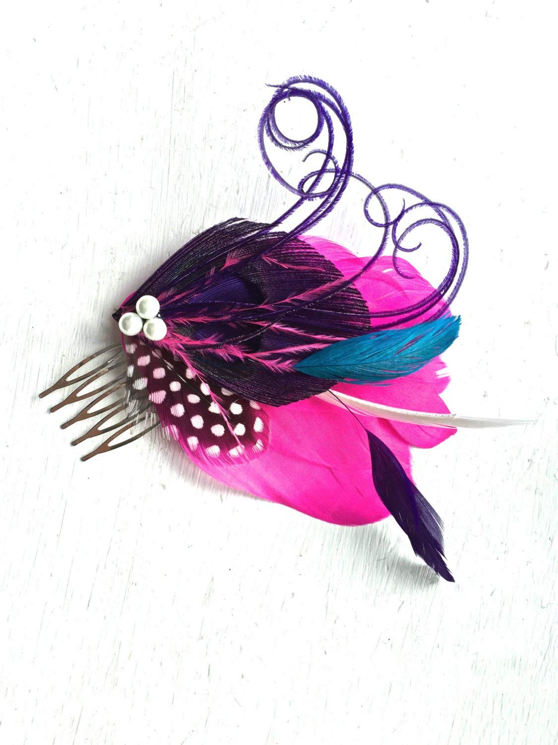 Oh Lucy Handmade LANE Feather Fascinator with Pearl, Feather Hair Comb, Bridal Hair Piece in Hot Pink, Purple, and Turquoise