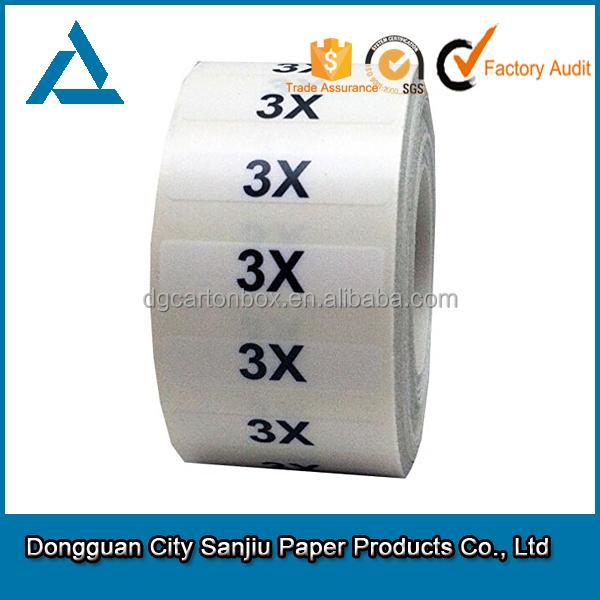 Garment size strip labels 5