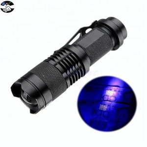 mini rechargeable 365nm 395nm uv Q5 led flashlight black light for testing cash Scorpion chemical fluorescer baby clothes