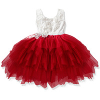 summer baby girls first birthday princess dress lace tulle layer tutu skirts flower dress for girls