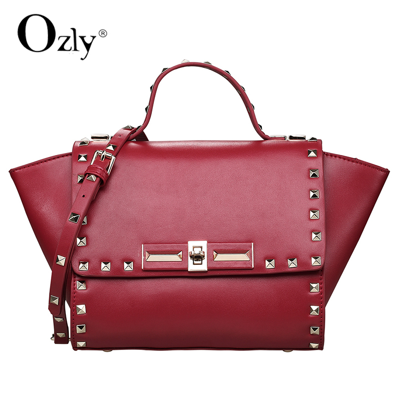 d199f19df6 Get Quotations · 100% genuine leather handbags Fashion Trapeze rivets Shoulder  Messenger portable female bag free shipping Factory