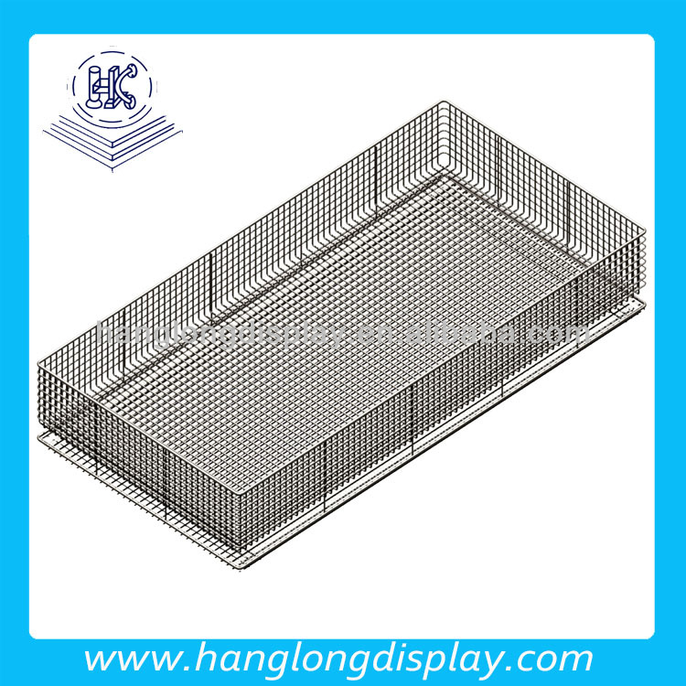 Hospital medical metal wire flat basket