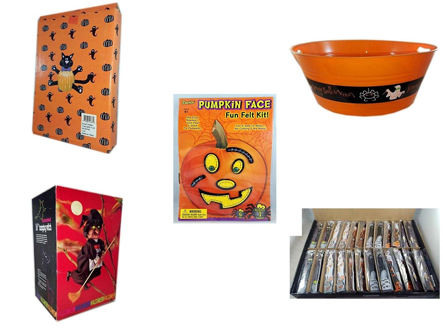 "Halloween Fun Gift Bundle [5 piece] - Halloween Cat Pumpkin Push In 5 Piece Head Arms Legs - 17.75 Inch Orange ""Happy Halloween"" Party Tub - Darice Pumpkin Face Fun Felt Kit - Stitches - Halloween"