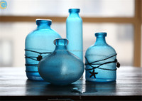 artificial flowers blue glass vase different size supply