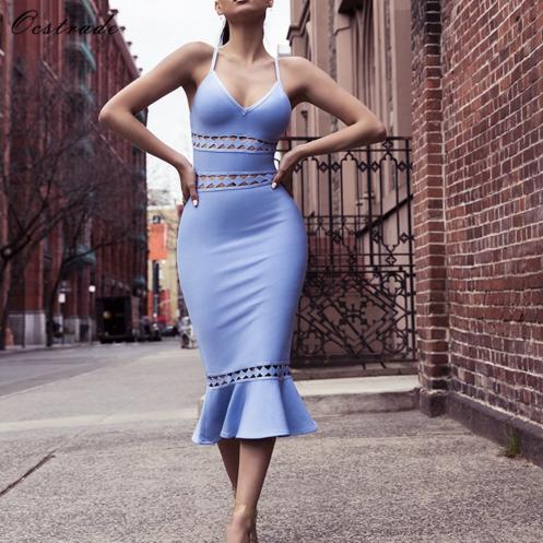 Alibaba.com / Ocstrade Hot Sale Summer Women Light Blue Cut Out Detail Mermaid Bodycon Bandage Dress Mini
