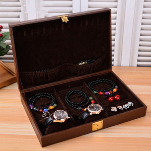 Large capacity jewelry box organizer multifunction wooden jewelry box and watch