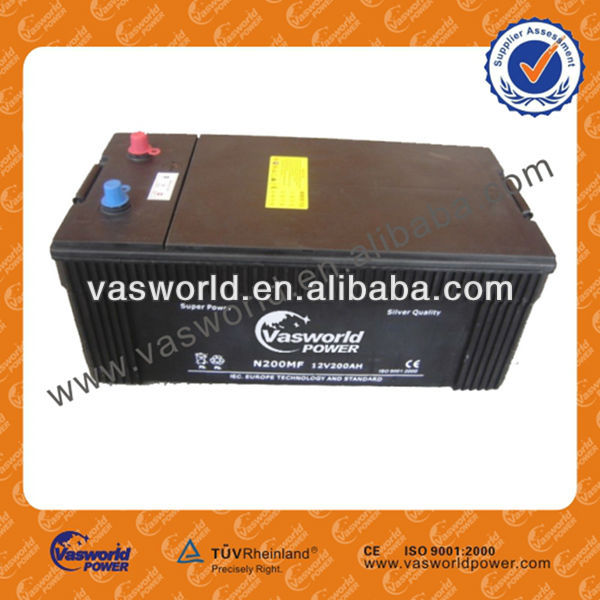 maintenance free car battery manufacture 12v200ah