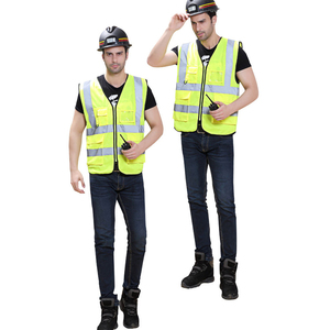 Multi pocket reflective work vest mens workwear uniform