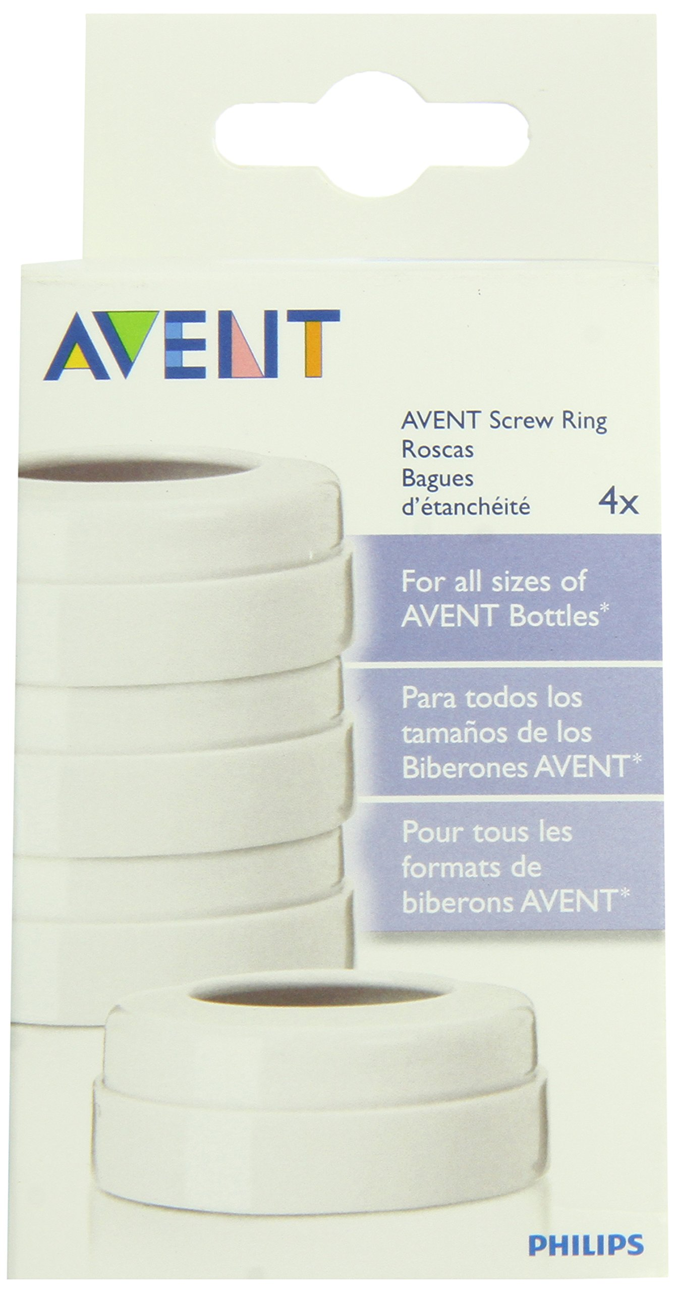 Philips AVENT BPA Free Classic Bottle Screw Rings, 4-Pack