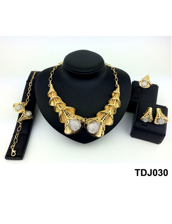 Costume african fashion 18 k gold plated jewelry set with rhinestone TDJ030