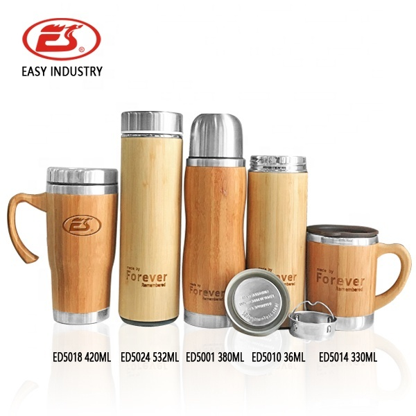 Custom personalized laser engraved logo bamboo cover stainless steel cup with handle