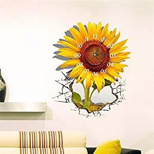 Get Quotations · PAG STICKER 3D Wall Clock Decals Sunflower DIY Wall  Sticker Home Wall Decor Gift / .